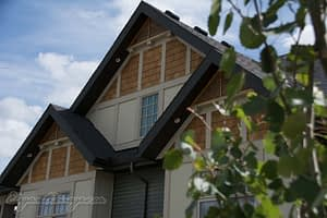 Cedar Shake Gables with Hardi Board Panel viklund contracting olds alberta