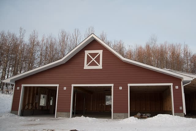 James Hardie plank with hardie trims on a barn
